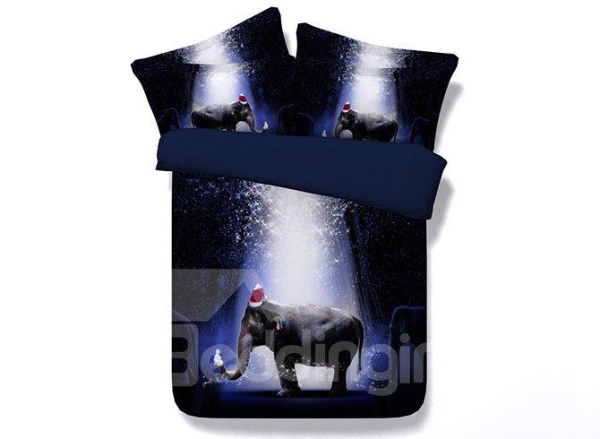 Cute Elephant Print Dark Blue 5-Piece Comforter Sets