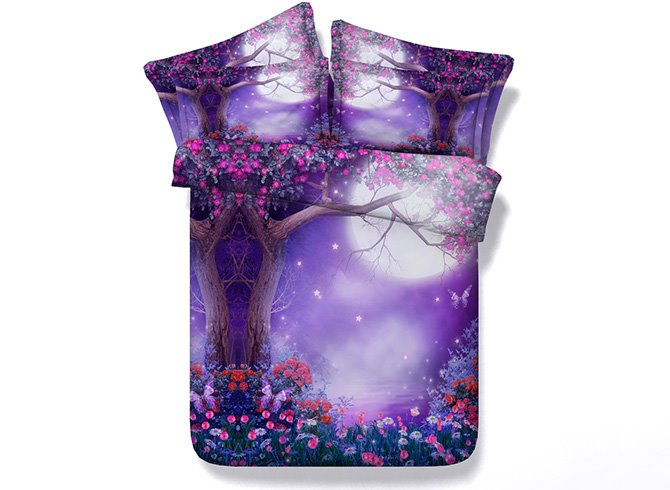 Dreamlike Moonlight Tree Flowers Print Purple 5-Piece Comforter Sets