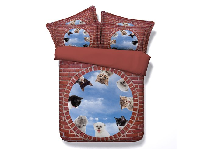 3D Kittens and Blue Sky Printed Cotton 4-Piece Bedding Sets/Duvet Covers