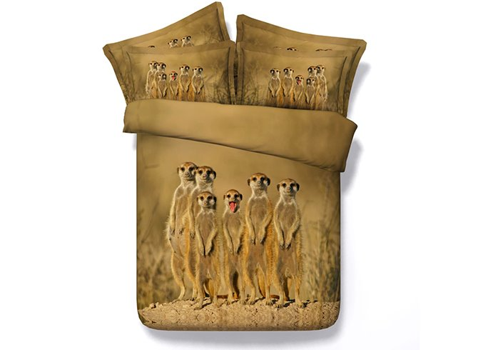 Lovely A Group of Standing Animal Print Brown 4-Piece Duvet Cover Sets