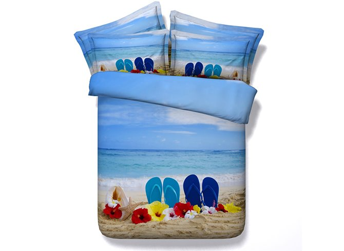 3D Slippers on the Beach Printed Cotton 4-Piece Bedding Sets/Duvet Covers