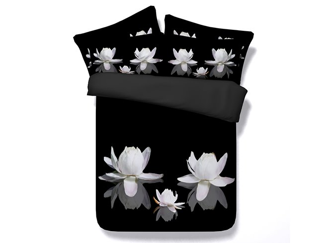 3D White Lotus Printed Cotton 4-Piece Black Bedding Sets/Duvet Cover