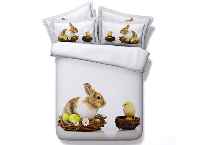 3D Easter Bunny and Chick Printed Cotton 4-Piece Bedding Sets/Duvet Covers