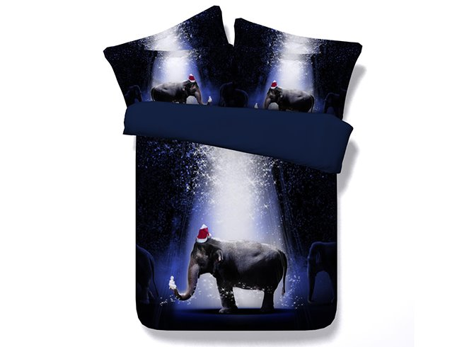 3D Elephant with Christmas Hat Printed Cotton 4-Piece Bedding Sets/Duvet Covers