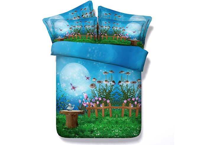 3D Fairyland and Butterfly under the MoonLight Printed Cotton 4-Piece Bedding Sets