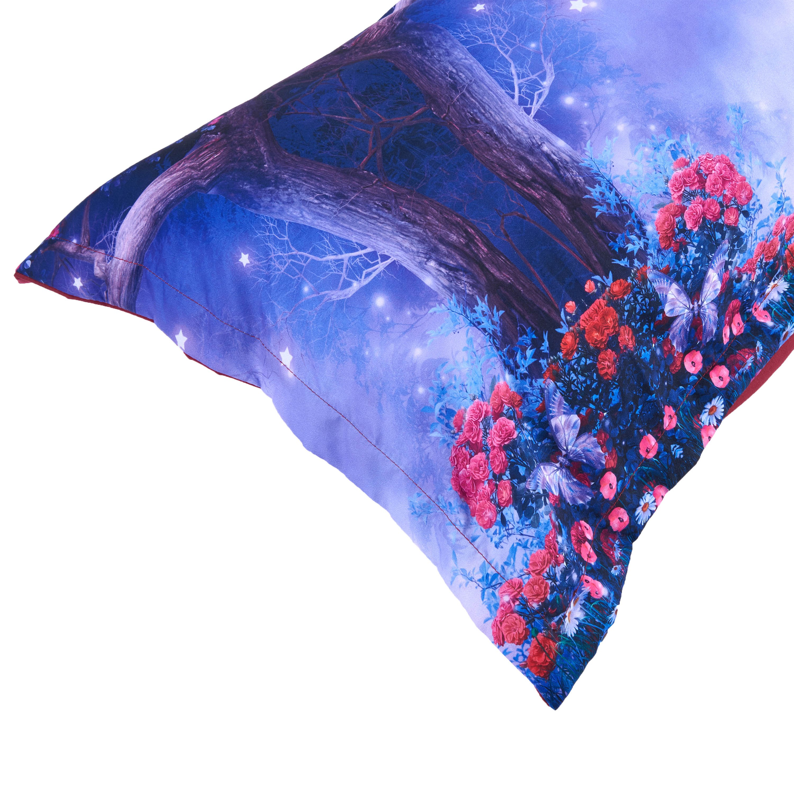 Dreamy Moon Tree and Flower Printed Cotton 4-Piece 3D Purple Bedding Sets/Duvet Covers