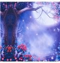 3D Dreamy Moon Tree and Flower Printed Cotton 4-Piece Purple Bedding Sets