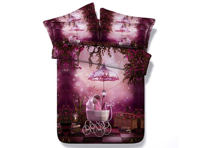 Dreamlike Rosy Flowers Print 4-Piece Duvet Cover Sets