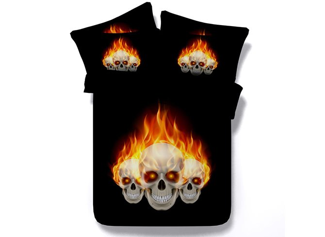 3D Fiery Skull Printed Cotton 4-Piece Black Bedding Sets/Duvet Covers