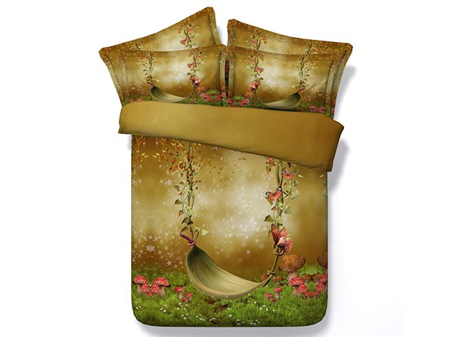 3D Silent Swing and Butterfly Printed Pastorl Style Cotton 4-Piece Bedding Sets