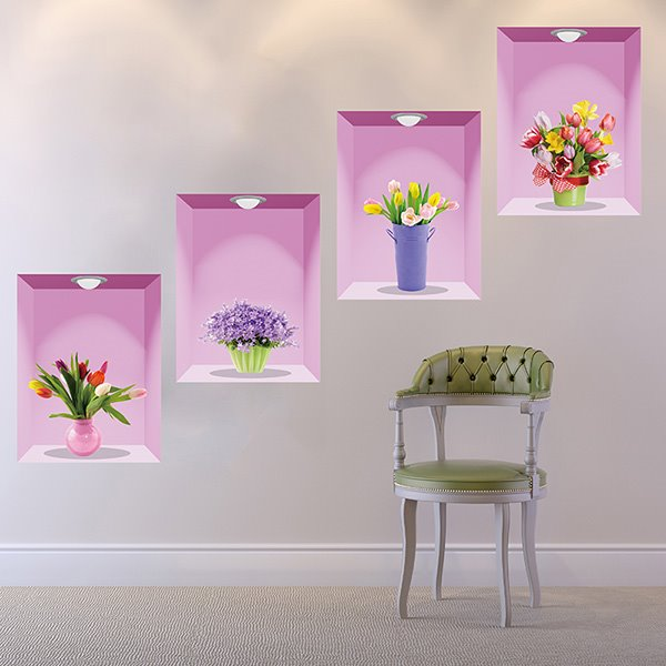 Gorgeous Flowers in Vases 4-Piece Removable 3D Wall Stickers