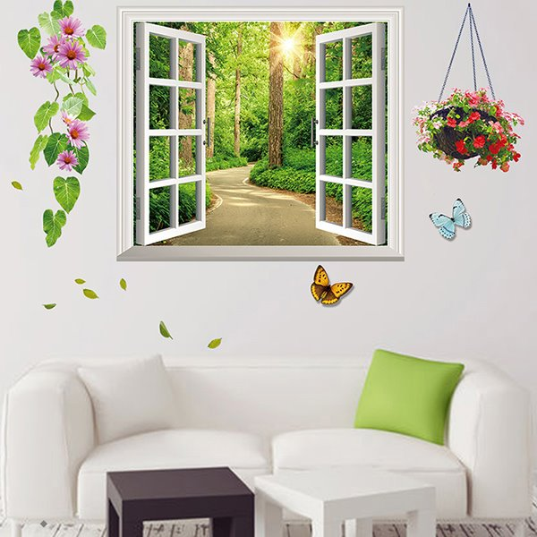 58 fresh forest flower and butterfly 3d window wall sticker set