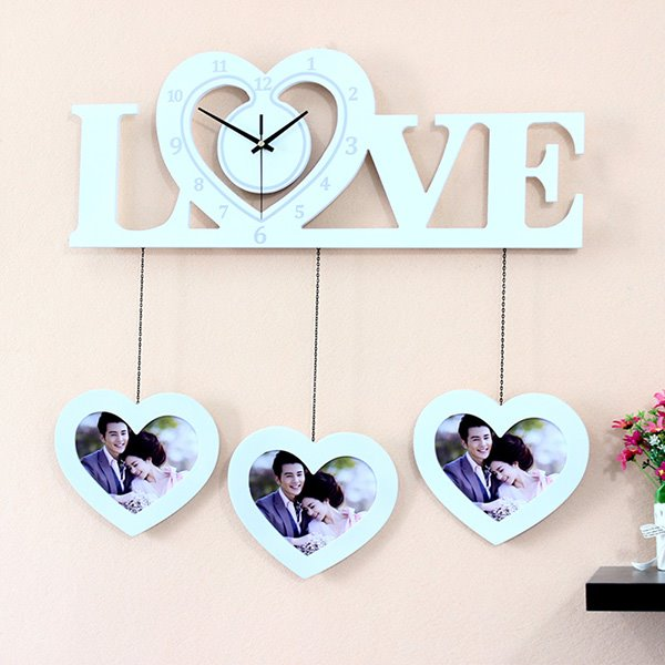 Romantic Heart-Shaped Clock and Photo Frames Wall Clock - beddinginn.com