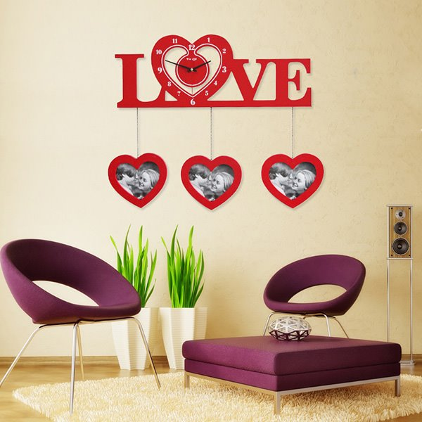 Romantic Heart-Shaped Clock and Photo Frames Wall Clock