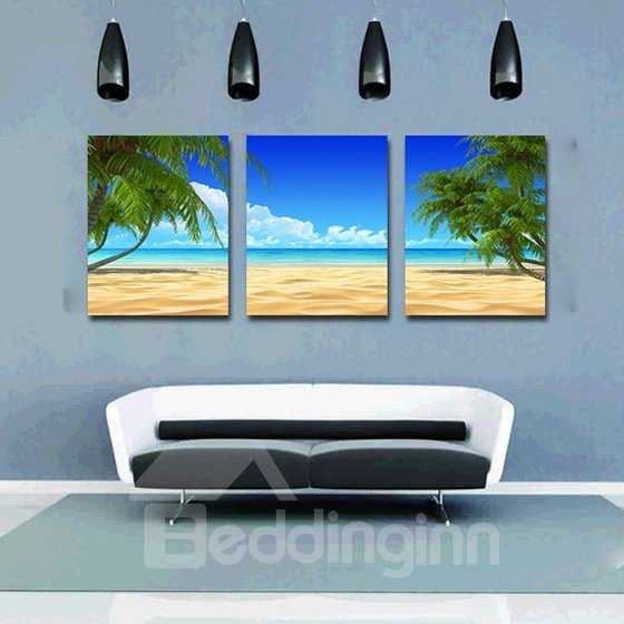 Wonderful Ocean and Beach Palm Tree 3-Panel Canvas Wall Art Prints