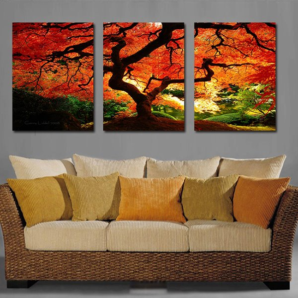 Unique Thickly Maple Tree 3-Panel Canvas Wall Art Prints