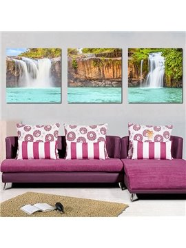 Amazing Natural Scenery Waterfall and Lake Hills 3-Panel Canvas Wall Art Prints