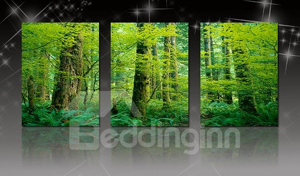 Wonderful Deep in Forest Green Leafy Trees 3-Panel Canvas Wall Art Prints