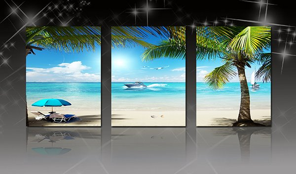 Wonderful Coastal Resort Beach and Sea 3-Panel Canvas Wall Art Prints