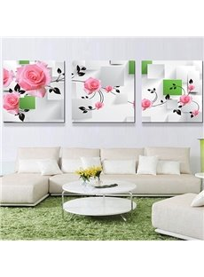 Romantic Pink Roses 3-Panel Canvas Wall Art Prints