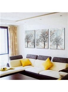Modern Abstract Art Sketch Trees 3-Panel Canvas Wall Art Prints