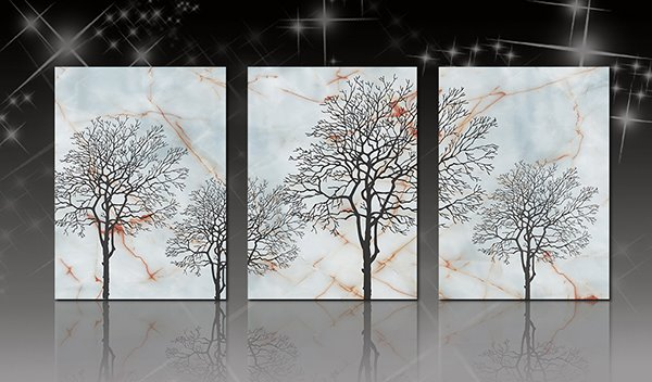 16×24in×3 Panels Trees Printed Hanging Canvas Waterproof and Eco-friendly Framed Prints