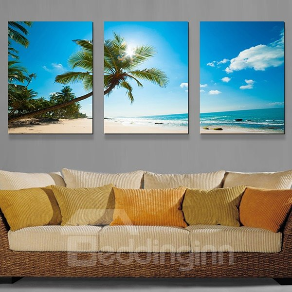 Wonderful Blue Sky and Palm Tree Beach 3-Panel Canvas Wall Art Prints