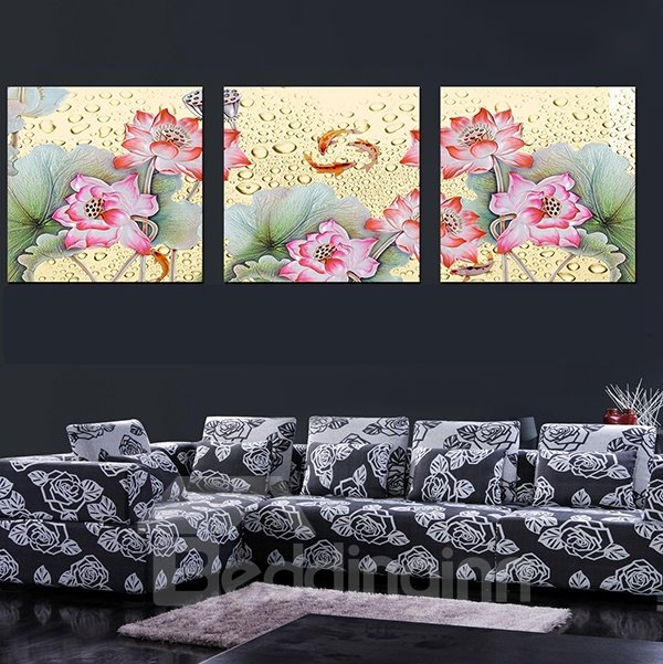 Gorgeous Lotus Flowers Pattern 3-Panel Canvas Wall Art Prints