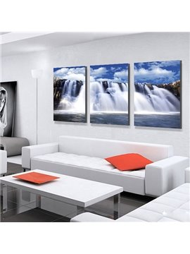 Fantastic Waterfalls Falling off Cliffs 3-Panel Canvas Wall Art Prints