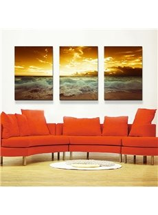 Amazing Sea Waves along the Beach 3-Panel Canvas Wall Art Prints