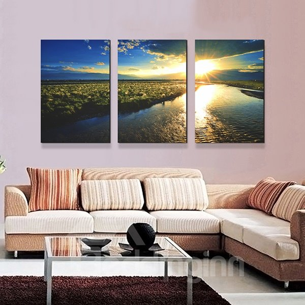 Picturesque Lake in Flittering Sun 3-Panel Canvas Wall Art Prints ...