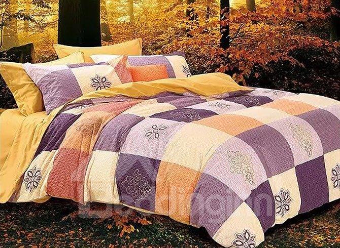 Muted Colored Concise Plaid Cotton 4-Piece Duvet Cover Sets