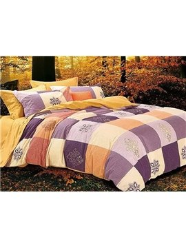 Muted Colored Concise Plaid Cotton 4-Piece Duvet Cover Sets