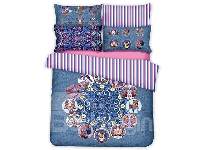 Vintage Animal Jacquard Design Blue 4-Piece Cotton Duvet Cover Sets