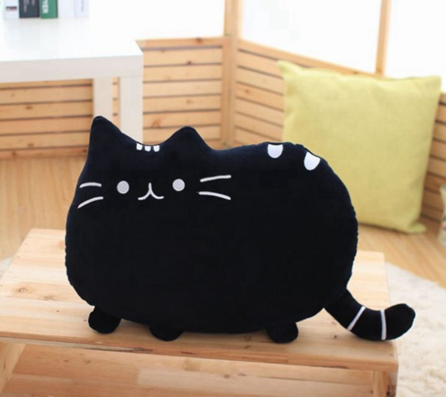 Adorable Cat Shaped Soft Plush Throw Pillow