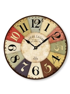 Classic Retro Countryside Style Wooden Mute Wall Clock