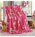 Pretty Floral Printing Sweet Pink Flannel Blanket