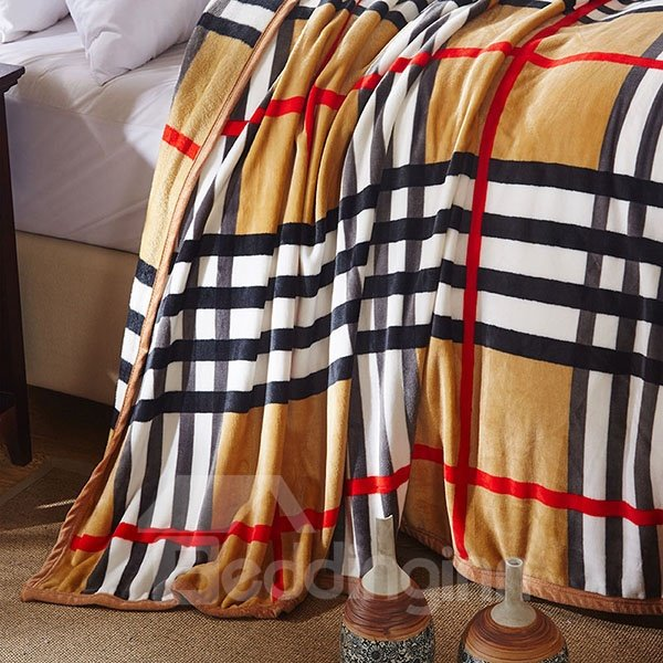 Classic Stripes and Plaid Design Bed Blanket