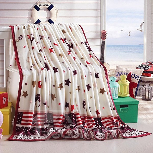 Stars and Moon Print Anti-Pilling Blanket for All Seasons
