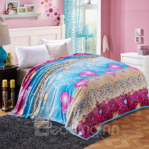 Pretty Hearts Print Flannel Blanket for All Seasons