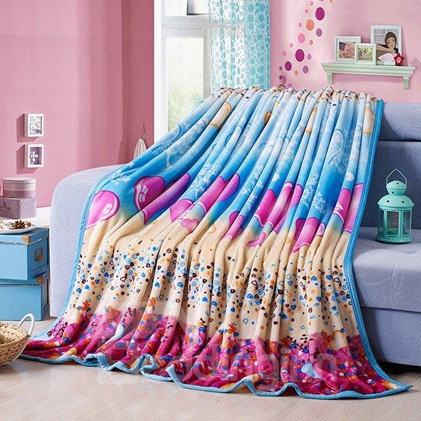 Pretty Hearts Print Flannel Blanket for All Seasons