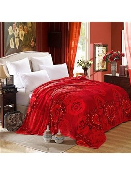 Romantic Red Roses and Heat Design Blanket