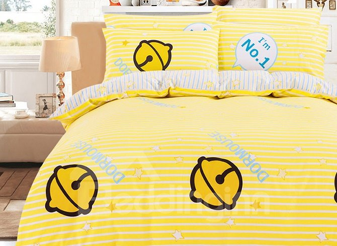 Bright Yellow Bells Pattern Kids 100% Cotton Duvet Cover Sets
