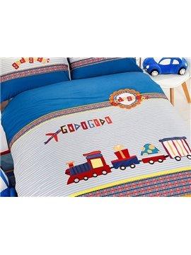 Cute Letter and Train Print Cotton 3-Piece Kids Duvet Cover Sets