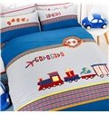 Cute Letter and Train Print Cotton 3-Piece Kids Duvet Cover Sets