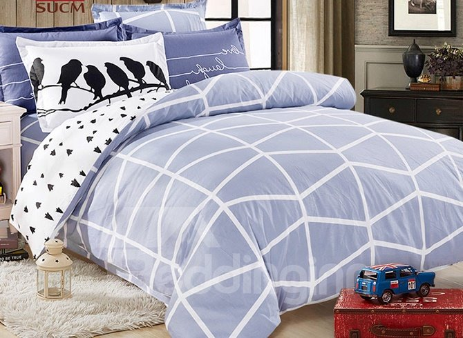 Simple Style Square Pattern Kids 100% Cotton Duvet Cover Sets