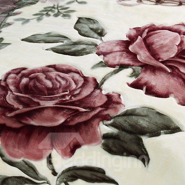 Elegant Flowers Printed Vintage Style Raschel Blanket