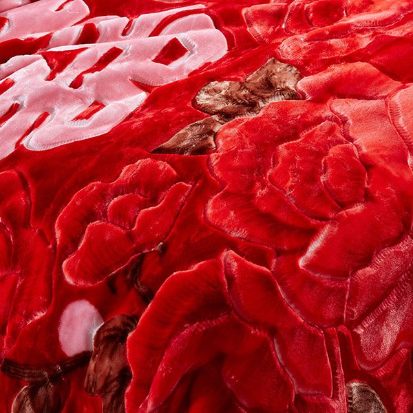 Fancy Red Flowers Raschel Blanket for Newlyweds