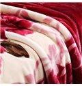 Red Floral Design Classy Well-Made Raschel Bedding Blanket