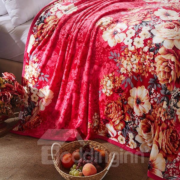 Beautiful Blooming Flowers with Pink Ground Bed Blanket